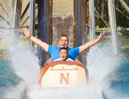 Father and son on the Log Flume ride